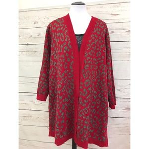 Kasper red and Silver leopard Cardigan size 2X.